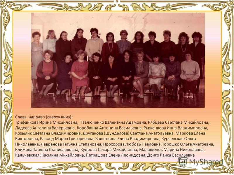 Слева направо (сверху вниз): Трифанкова Ирина Михайловна, Павлюченко Валентина Адамовна, Рябцева Светлана Михайловна, Ладеева Ангелина Валерьевна, Коробкина Антонина Васильевна, Рыженкова Инна Владимировна, Козьмик Светлана Владимировна, Другакова (Ш
