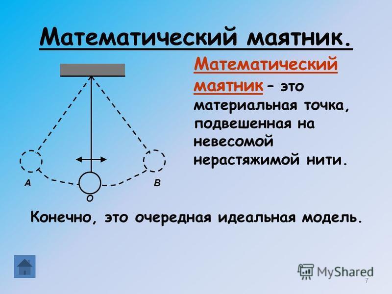 Математический маятник. Математический маятник – это материальная точка, подвешенная на невесомой нерастяжимой нити. 7 АВ О Конечно, это очередная идеальная модель.