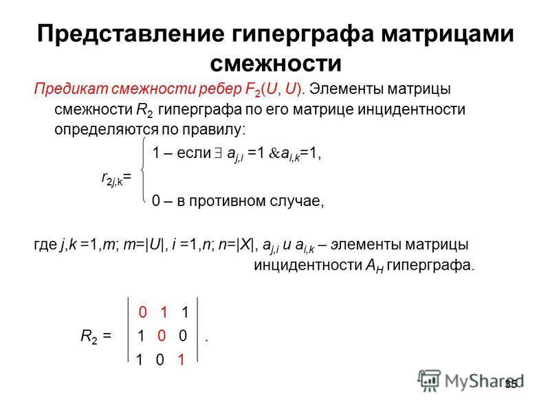 35 Представление гиперграфа матрицами смежности Предикат смежности ребер F 2 (U, U). Элементы матрицы смежности R 2 гиперграфа по его матрице инцидентности определяются по правилу: 1 – если a j,i =1 a i,k =1, r 2j,k = 0 – в противном случае, где j,k