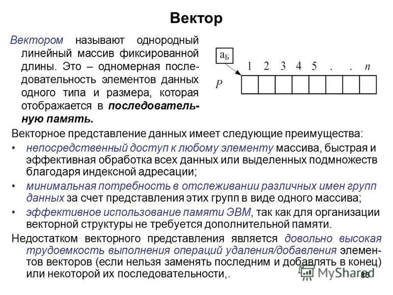86 Вектор Векторное представление данных имеет следующие преимущества: непосредственный доступ к любому элементу массива, быстрая и эффективная обработка всех данных или выделенных подмножеств благодаря индексной адресации; минимальная потребность в