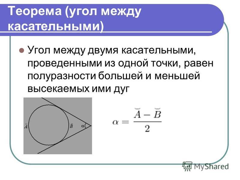 Теорема (угол между касательными) Угол между двумя касательными, проведенными из одной точки, равен полуразности большей и меньшей высекаемых ими дуг