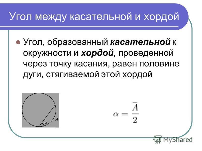 Угол между касательной и хордой Угол, образованный касательной к окружности и хордой, проведенной через точку касания, равен половине дуги, стягиваемой этой хордой