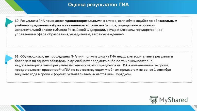 Оценка результатов ГИА 60. Результаты ГИА признаются удовлетворительными в случае, если обучающийся по обязательным учебным предметам набрал минимальное количество баллов, определенное органом исполнительной власти субъекта Российской Федерации, осущ