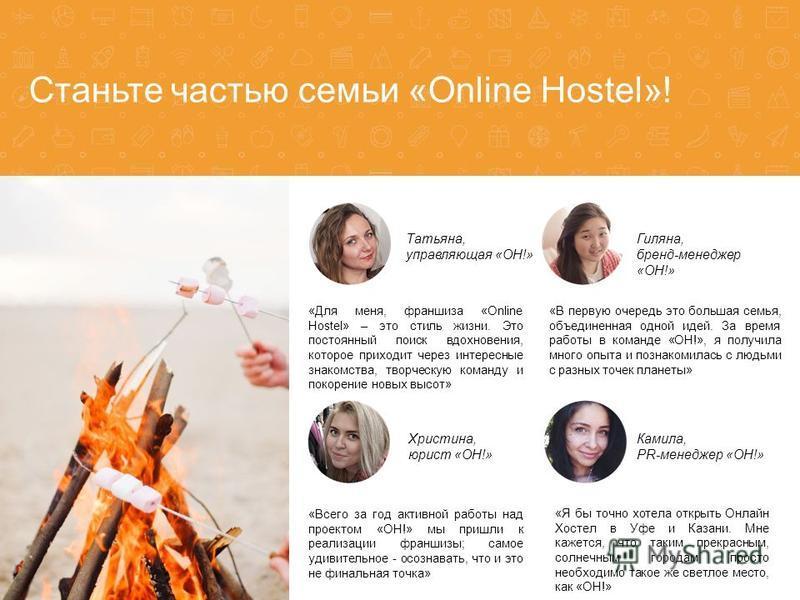 Станьте частью семьи «Online Hostel»! «Всего за год активной работы над проектом «ОН!» мы пришли к реализации франшизы; самое удивительное - осознавать, что и это не финальная точка» Христина, юрист «OH!» Камила, PR-менеджер «OH!» Гиляна, бренд-менед