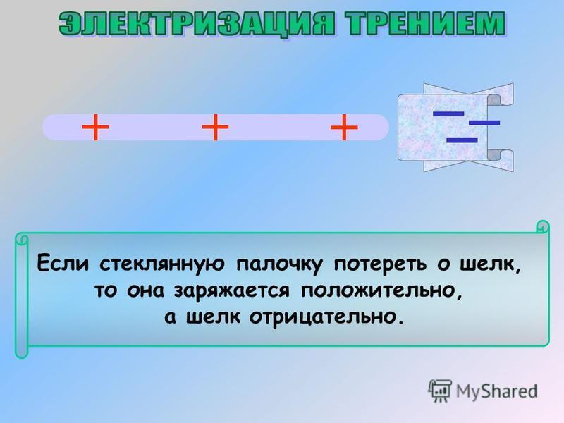 Если стеклянную палочку потереть о шелк, то она заряжается положительно, а шелк отрицательно.