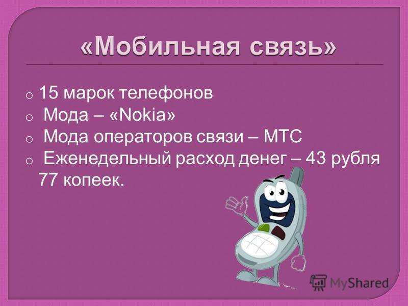 o 15 марок телефонов o Мода – «Nokia» o Мода операторов связи – МТС o Еженедельный расход денег – 43 рубля 77 копеек.