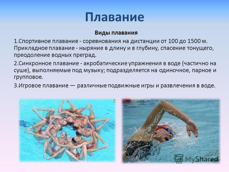 Плавание Виды плавания 1. Спортивное плавание - соревнования на дистанции от 100 до 1500 м. Прикладное плавание - ныряние в длину и в глубину, спасение тонущего, преодоление водных преград. 2. Синхронное плавание - акробатические упражнения в воде (ч