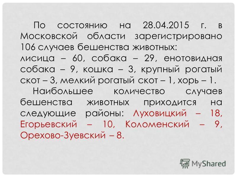 По состоянию на 28.04.2015 г. в Московской области зарегистрировано 106 случаев бешенства животных: лисица – 60, собака – 29, енотовидная собака – 9, кошка – 3, крупный рогатый скот – 3, мелкий рогатый скот – 1, хорь – 1. Наибольшее количество случае