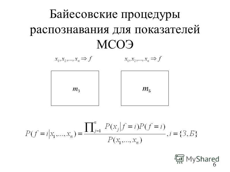 Байесовские процедуры распознавания для показателей МСОЭ 6 З m fxxx n,...,, 21 fxxx n,...,, 21 Б m