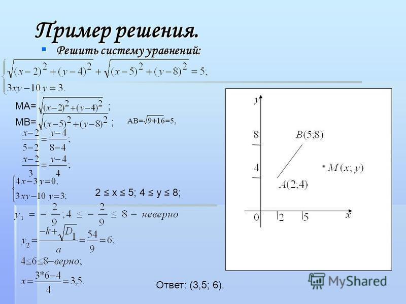 Пример решения. Решить систему уравнений: Решить систему уравнений: MA= ; MB=; 2 x 5; 4 y 8; Ответ: (3,5; 6). AB==5,