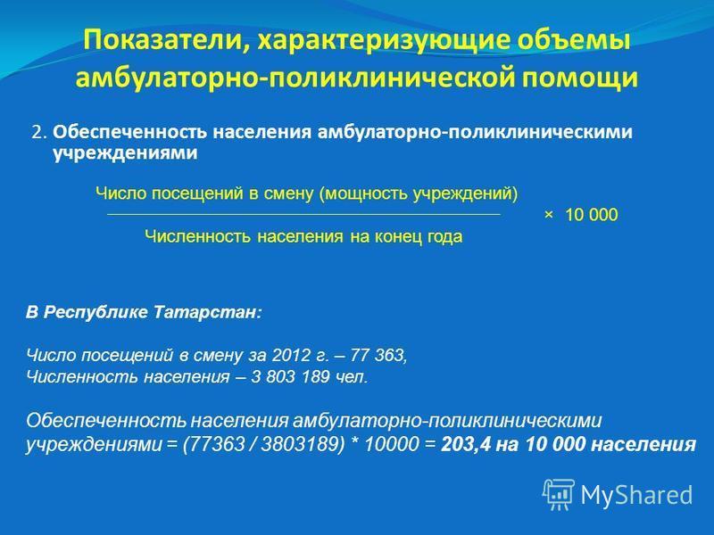 Число посещений в смену (мощность учреждений) × 10 000 Численность населения на конец года В Республике Татарстан: Число посещений в смену за 2012 г. – 77 363, Численность населения – 3 803 189 чел. Обеспеченность населения амбулаторно-поликлинически