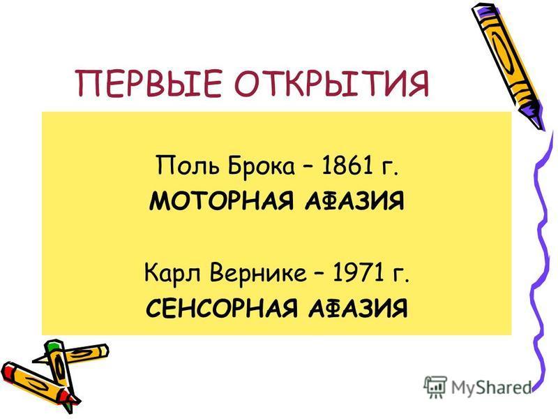 ПЕРВЫЕ ОТКРЫТИЯ Поль Брока – 1861 г. МОТОРНАЯ АФАЗИЯ Карл Вернике – 1971 г. СЕНСОРНАЯ АФАЗИЯ