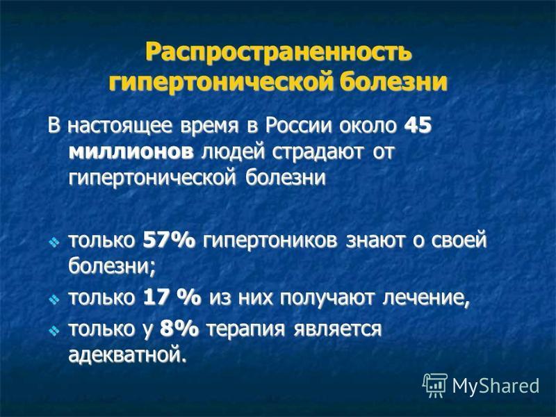 Распространенность гипертонической болезни В настоящее время в России около 45 миллионов людей страдают от гипертонической болезни только 57% гипертоников знают о своей болезни; только 57% гипертоников знают о своей болезни; только 17 % из них получа