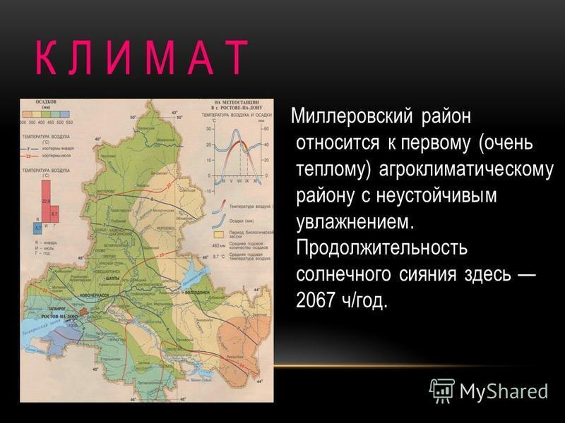 К Л И М А Т Миллеровский район относится к первому (очень теплому) агроклиматическому району с неустойчивым увлажнением. Продолжительность солнечного сияния здесь 2067 ч/год.