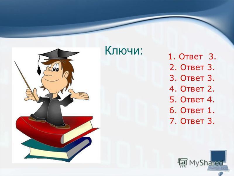 Ключи: 1. Ответ 3. 2. Ответ 3. 3. Ответ 3. 4. Ответ 2. 5. Ответ 4. 6. Ответ 1. 7. Ответ 3.