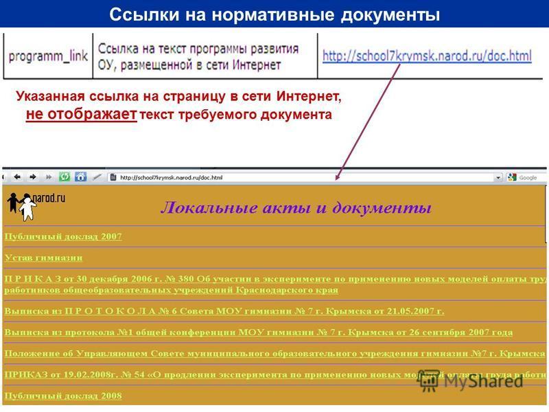 Ссылки на нормативные документы Указанная ссылка на страницу в сети Интернет, не отображает текст требуемого документа