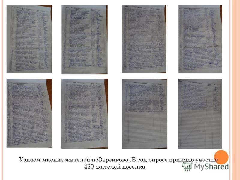 Узнаем мнение жителей п.Ферзиково.В соц.опросе приняло участие 420 жителей поселка.