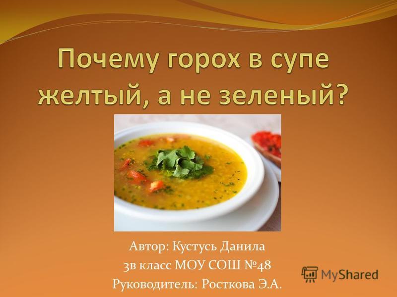 Автор: Кустусь Данила 3 в класс МОУ СОШ 48 Руководитель: Росткова Э.А.