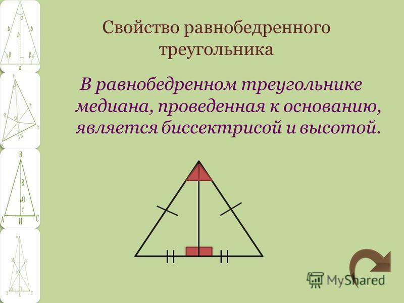 Свойство равнобедренного треугольника В равнобедренном треугольнике медиана, проведенная к основанию, является биссектрисой и высотой.