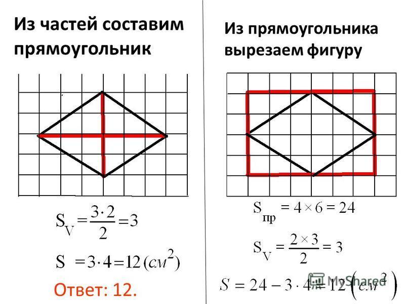 Из прямоугольника вырезаем фигуру Из частей составим прямоугольник Ответ: 12.