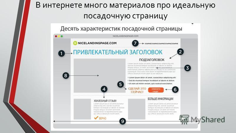 В интернете много материалов про идеальную посадочную страницу