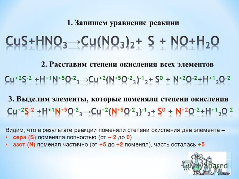 1. Запишем уравнение реакции 2. Расставим степени окисления всех элементов 3. Выделим элементы, которые поменяли степени окисления Видим, что в результате реакции поменяли степени окисления два элемента – сера (S) поменяла полностью (от – 2 до 0) азо