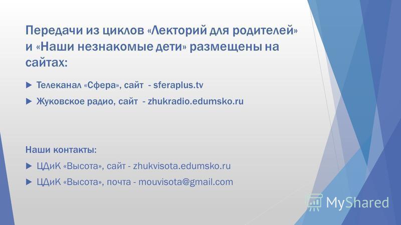 Передачи из циклов «Лекторий для родителей» и «Наши незнакомые дети» размещены на сайтах: Телеканал «Сфера», сайт - sferaplus.tv Жуковское радио, сайт - zhukradio.edumsko.ru Наши контакты: ЦДиК «Высота», сайт - zhukvisota.edumsko.ru ЦДиК «Высота», по