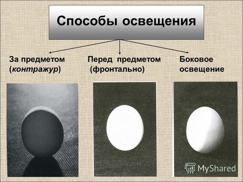 Способы освещения Перед предметом (фронтально) За предметом (контражур) Боковое освещение