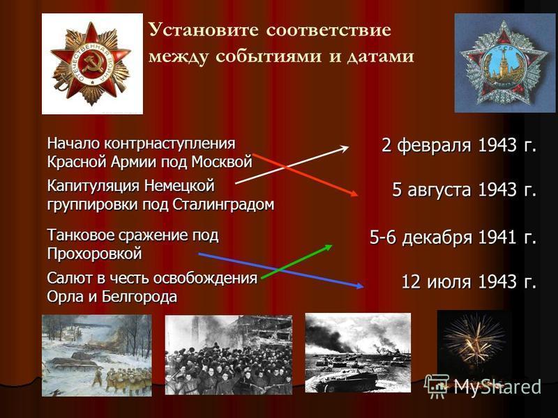 Начало контрнаступления Красной Армии под Москвой 2 февраля 1943 г. Капитуляция Немецкой группировки под Сталинградом 5 августа 1943 г. Танковое сражение под Прохоровкой 5-6 декабря 1941 г. Салют в честь освобождения Орла и Белгорода 12 июля 1943 г.