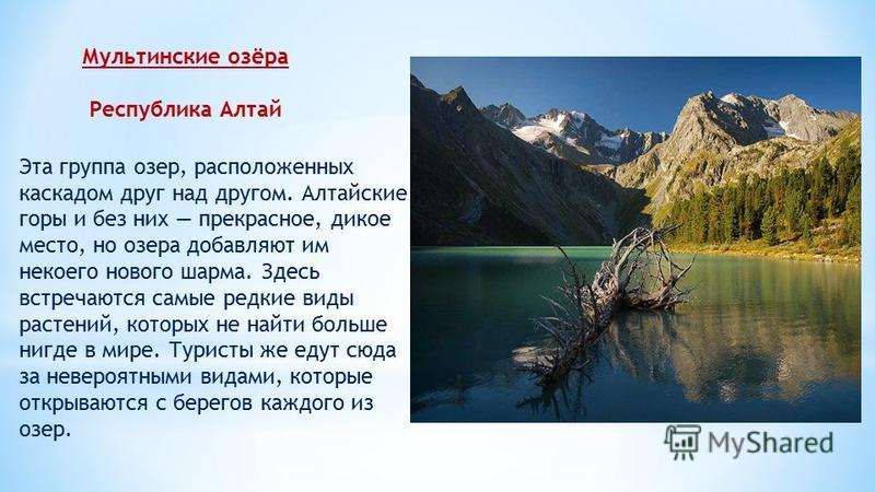 Мультинские озёра Республика Алтай Эта группа озер, расположенных каскадом друг над другом. Алтайские горы и без них прекрасное, дикое место, но озера добавляют им некоего нового шарма. Здесь встречаются самые редкие виды растений, которых не найти б