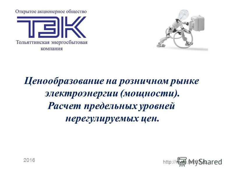 2016 http://www.tek63. ru Ценообразование на розничном рынке электроэнергии (мощности). Расчет предельных уровней берегулируемых цен.