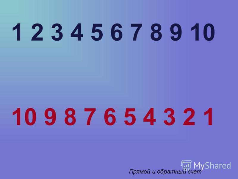 1 2 3 4 5 6 7 8 9 10 10 9 8 7 6 5 4 3 2 1 Прямой и обратный счет