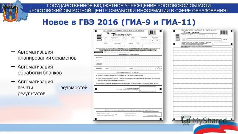 Новое в ГВЭ 2016 (ГИА-9 и ГИА-11) Автоматизация планирования экзаменов Автоматизация обработки бланков Автоматизация печати ведомостей результатов
