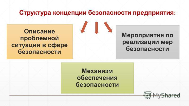Структура концепции безопасности предприятия : Описание проблемной ситуации в сфере безопасности Мероприятия по реализации мер безопасности Механизм обеспечения безопасности