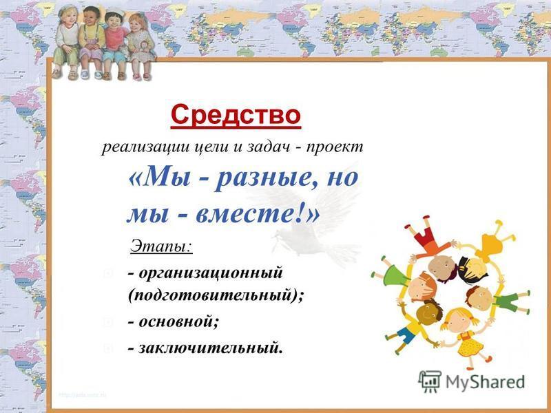 Средство реализации цели и задач - проект «Мы - разные, но мы - вместе!» Этапы: - организационный (подготовительный); - основной; - заключительный.