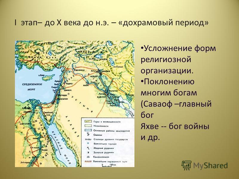 I этап– до X века до н.э. – «до храмовый период» Усложнение форм религиозной организации. Поклонению многим богам (Саваоф –главный бог Яхве -- бог войны и др.