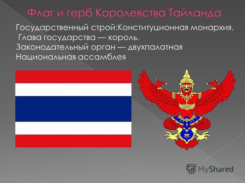 Государственный строй:Конституционная монархия. Глава государства король. Законодательный орган двухпалатная Национальная ассамблея