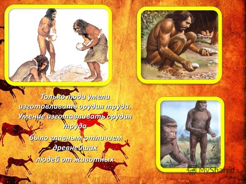 Только люди умели изготавливать орудия труда. Умение изготавливать орудия труда было главным отличием древнейших людей от животных
