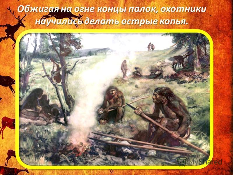 Обжигая на огне концы палок, охотники научились делать острые копья.