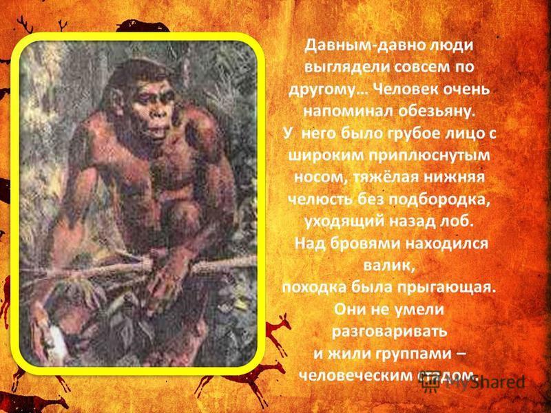 Давным-давно люди выглядели совсем по другому… Человек очень напоминал обезьяну. У него было грубое лицо с широким приплюснутым носом, тяжёлая нижняя челюсть без подбородка, уходящий назад лоб. Над бровями находился валик, походка была прыгающая. Они