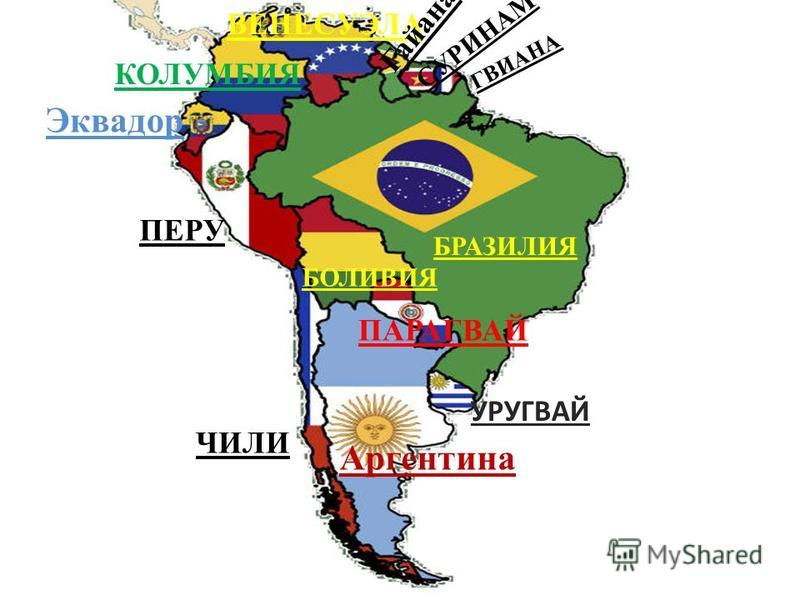 БРАЗИЛИЯ Аргентина УРУГВАЙ ЧИЛИ ПЕРУ ПАРАГВАЙ БОЛИВИЯ Эквадор КОЛУМБИЯ ВЕНЕСУЭЛА Гайана СУРИНАМ ГВИАНА