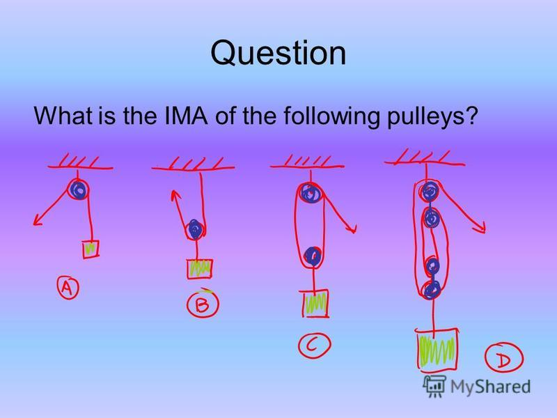 Question What is the IMA of the following pulleys?
