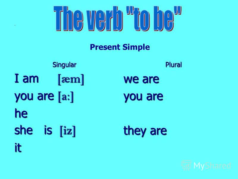 . Singular I am [æm] you are [a:] he she is [iz] itPlural we are you are they are Present Simple