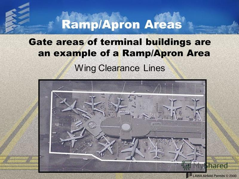 Ramp/Apron Areas Gate areas of terminal buildings are an example of a Ramp/Apron Area Wing Clearance Lines