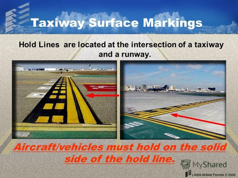 Hold Lines are located at the intersection of a taxiway and a runway. Aircraft/vehicles must hold on the solid side of the hold line. Taxiway Surface Markings
