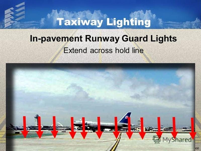 Taxiway Lighting In-pavement Runway Guard Lights Extend across hold line