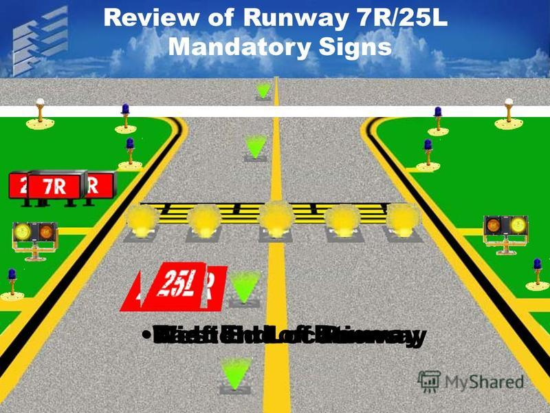 Review of Runway 7R/25L Mandatory Signs East End of Runway Midfield LocationsWest End of Runway