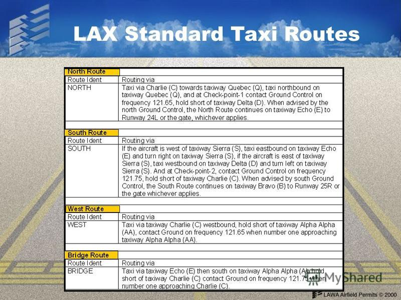 LAX Standard Taxi Routes