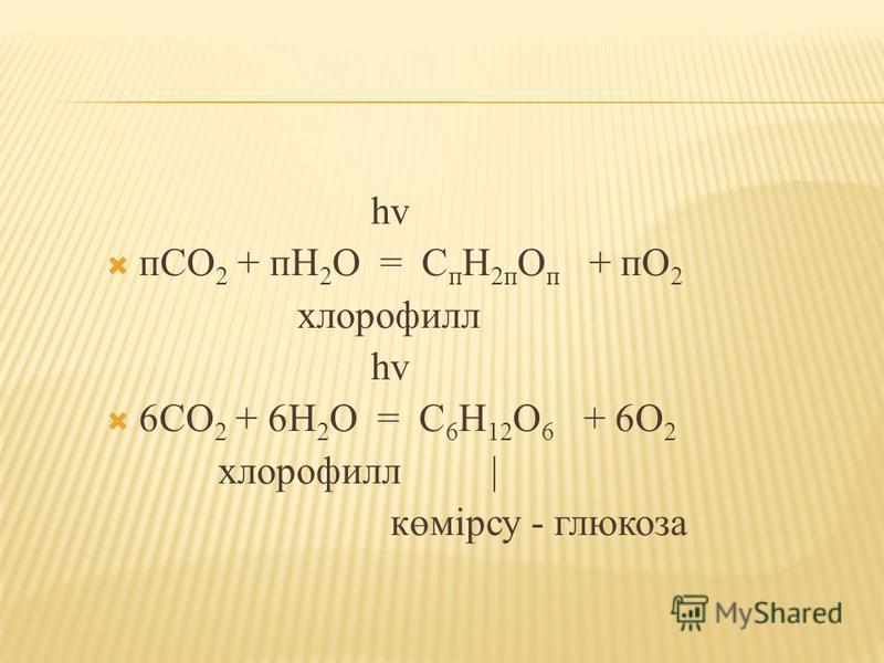 һv пСО 2 + пН 2 О = С п Н 2п О п + пО 2 хлорофилл һv 6СО 2 + 6Н 2 О = С 6 Н 12 О 6 + 6О 2 хлорофилл | көмірсу - глюкоза
