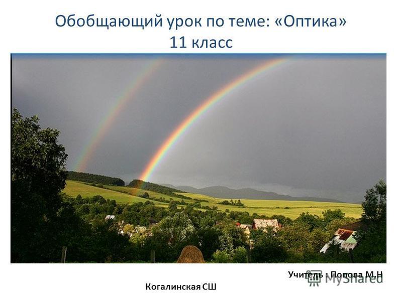 Обобщающий урок по теме: «Оптика» 11 класс Учитель : Попова М.Н Когалинская СШ